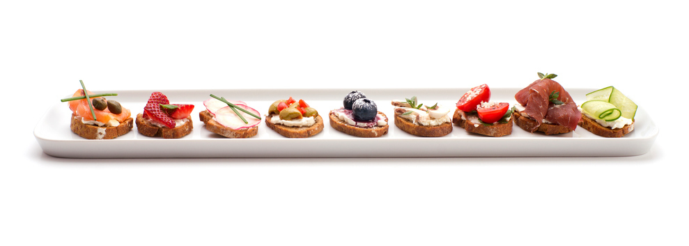 Canapes on White Plate